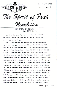 The Spirit of Faith Newsletter - February 1980 (Print Edition)