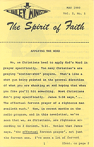 The Spirit of Faith Newsletter - May 1980 (Print Edition)
