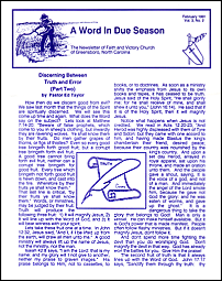 A Word in Due Season Newsletter (February 1991)