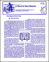 A Word in Due Season Newsletter (April 1991)