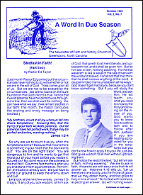 A Word in Due Season Newsletter (October 1990)