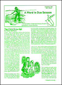 A Word in Due Season Newsletter (December 1989)